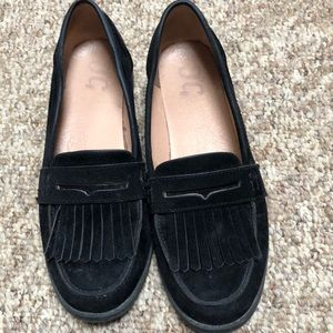 Black suede loafer